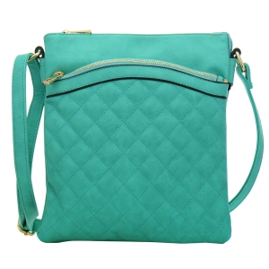 Quilted Faux Leather Messenger Bag 34983 - Turquoise