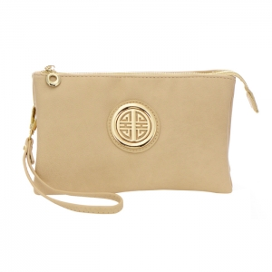 Triple Compartment Clutch Purse with Metal Accent 35006 - Almond