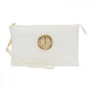 Triple Compartment Clutch Purse with Metal Accent 35006 - White