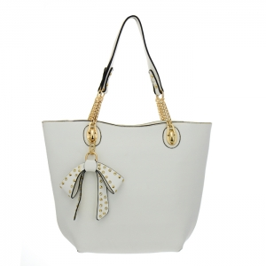 Faux Leather Tore Bag 35021 - White