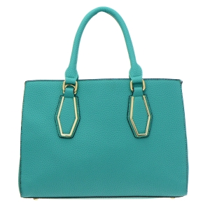 Faux Leather Diamond Shape Accent Handbag 35037 - Mint