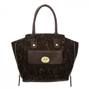 Animal Skin Faux Leather with Embroidered Heart Handbag 35045 - Brown
