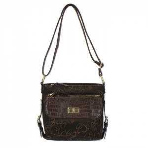 Animal Skin Faux Leather with Embroidered Heart Messenger Bag 35057 - Brown