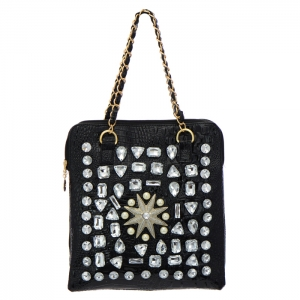 Animal Skin Rhinestone and Pearl Accent Shoulder Bag 35069 - Black