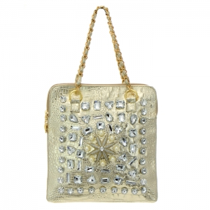 Animal Skin Rhinestone and Pearl Accent Shoulder Bag 35069 - Gold