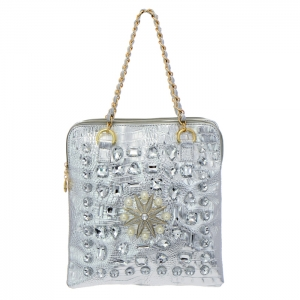 Animal Skin Rhinestone and Pearl Accent Shoulder Bag 35069 - Silver
