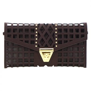 Square Laser Cut Faux Leather Clutch Bag 35173 - Brown