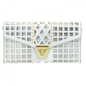 Square Laser Cut Faux Leather Clutch Bag 35173 - Silver