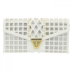 Square Laser Cut Faux Leather Clutch Bag 35173 - White