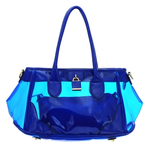 Clear Patent Leather Handbag 35181 - Blue