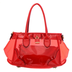 Clear Patent Leather Handbag 35181 - Coral