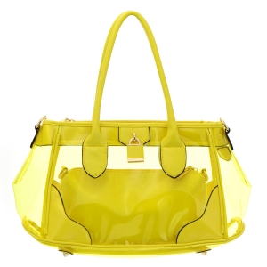 Clear Patent Leather Handbag 35181 - Yellow