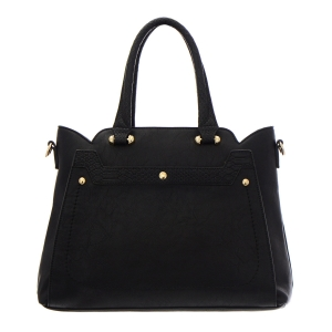 Faux Leather Tote Bag 35194 - Black