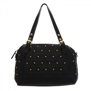 Laser-Cut Shoulder Bag 35195 - Black