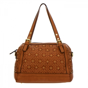 Laser-Cut Shoulder Bag 35195 - Brown