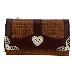 Faux Leather Animal Skin Wallet 35222 - Dark Brown