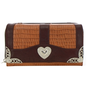 Faux Leather Animal Skin Wallet 35222 - Light Brown