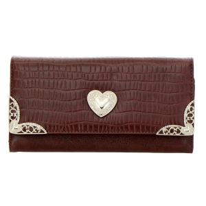 Faux Leather Animal Skin Wallet 35225 - Dark Brown