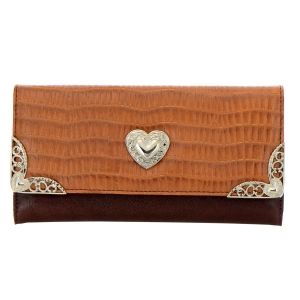 Faux Leather Animal Skin Wallet 35225 - Light Brown