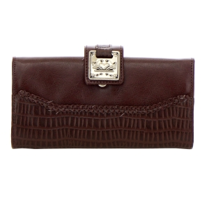 Faux Leather Animal Skin Wallet 35228 - Dark Brown