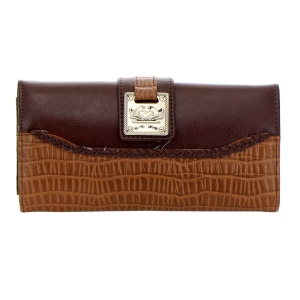 Faux Leather Animal Skin Wallet 35228 - Light Brown