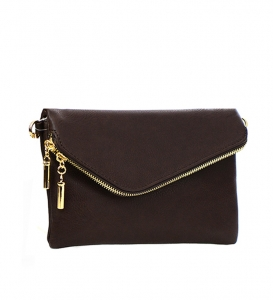 Faux Leather Clutch Purse 35261 - Brown