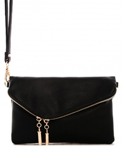 Faux Leather Clutch Purse 35261 - Black