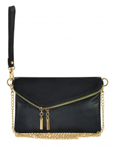Faux Leather Clutch Purse WU023 BLACK