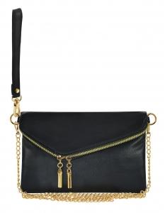Faux Leather Clutch Purse Wu023 Black