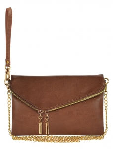 Faux Leather Clutch Purse WU023 COFEE