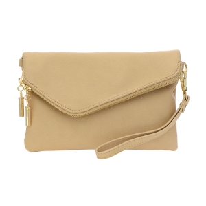 Faux Leather Clutch Purse 35261 - Almond