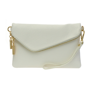 Faux Leather Clutch Purse 35261 - White