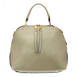 Patent Leather Handbag 35282 - Beige