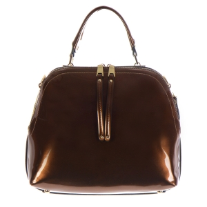 Patent Leather Handbag 35282 - Brown