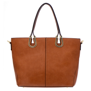 Faux Leather Tote Bag 35286 - Brown