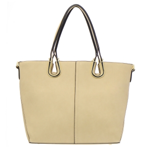 Faux Leather Tote Bag 35286 - Light Taupe
