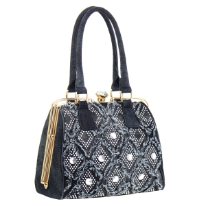 Rhinestone Faux Leather Handbag 35290 - Black