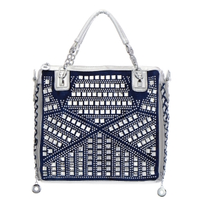 Denim Rhinestone Handbag 35291 - Denim Silver