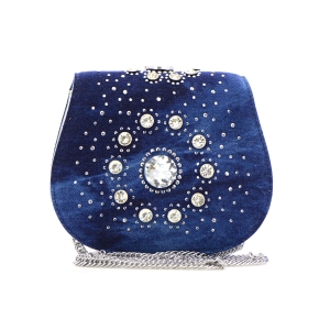 Rhinestone Denim Clutch Purse 35293 - Denim Silver