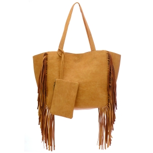 Faux Leather Fringe Tote Bag 35296 - Tan