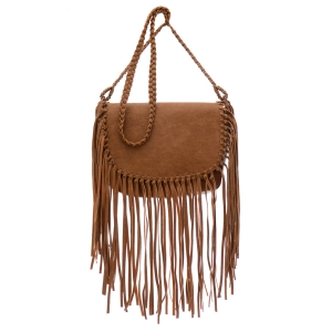 Faux Leather Fringe Satchel 35300 - Tan