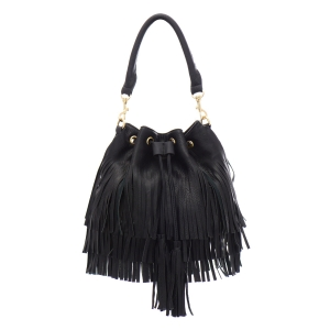 Faux Leather Fringe Shoulder Bag 35302 - Black
