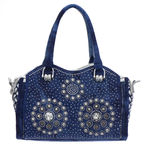 Denim Rhinestone Handbag 35304 - Denim Gold