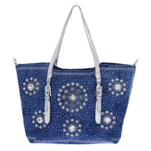 Denim Rhinestone Tote Bag 35306 - Denim Silver