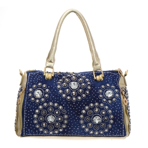 Denim Rhinestone Handbag 35308 - Denim Gold
