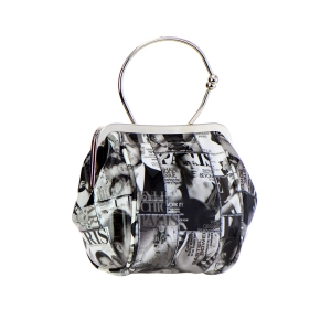 Magazine Print Small Clutch Purse 35373 - Black and White