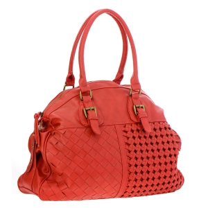 Faux Leather Large Handbag 35375 - Coral