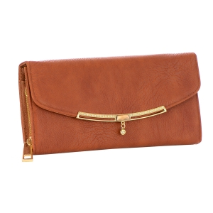Faux Leather Clutch Purse 35381 - Brown