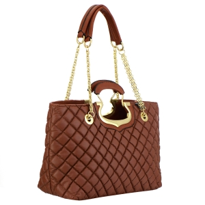 Quilted Faux Leather Handbag 35389 - Brown