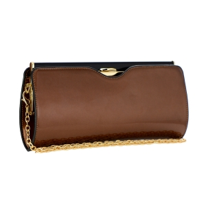 Patent Leather Clutch Purse 35396 - Brown